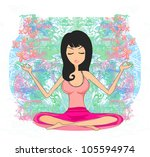 yoga girl in lotus position | Shutterstock .eps vector #105594974