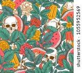 summer florals seamless pattern.... | Shutterstock .eps vector #1055952569