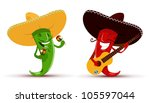 cartoon,cartoon character,character,cheerful,chili,chili pepper,colorful,eat,ensemble,ethnic,food,funny,funny face,green chili,guitar