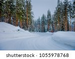 view of winter road snow and... | Shutterstock . vector #1055978768