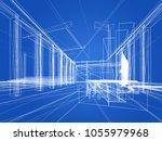 sketch design of interior hall  ... | Shutterstock . vector #1055979968