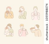 the people are eating bread.... | Shutterstock .eps vector #1055988074