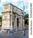 Small photo of Arch of Constantine located in Rome, Italy near the Colosseum.