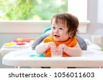 happy little baby boy with a... | Shutterstock . vector #1056011603