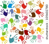 hand prints in different colors | Shutterstock . vector #105602780