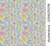 flower pattern seamless in... | Shutterstock .eps vector #1056029258