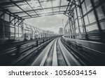 front view of train moving in... | Shutterstock . vector #1056034154