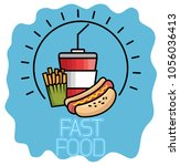 fast food set icons | Shutterstock .eps vector #1056036413