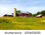 American Country Farm With Blu...