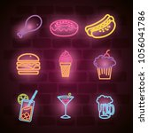 fast food and drinks with neon...   Shutterstock .eps vector #1056041786