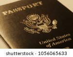 us passport cover toned blurred ... | Shutterstock . vector #1056065633