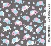 cute cartoon elephant seamless... | Shutterstock .eps vector #1056067238