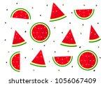 sliced watermelon pattern on... | Shutterstock .eps vector #1056067409