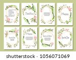 a set of postcards with flowers ... | Shutterstock .eps vector #1056071069