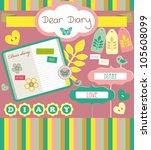 cute scrapbook elements. vector ... | Shutterstock .eps vector #105608099