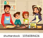 modern family together cooking... | Shutterstock .eps vector #1056084626