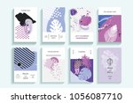 universal floral posters set.... | Shutterstock . vector #1056087710