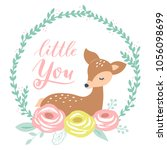 cute vector baby fawn character ...   Shutterstock .eps vector #1056098699