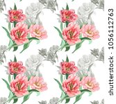 watercolor tulips peonies on... | Shutterstock . vector #1056112763