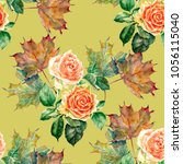 bouquet orange roses with maple ... | Shutterstock . vector #1056115040