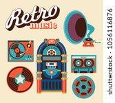 retro music. a set of vintage... | Shutterstock .eps vector #1056116876