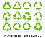 recycled arrows. green reusable ... | Shutterstock .eps vector #1056120830