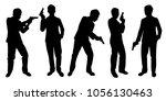 business man with gun... | Shutterstock .eps vector #1056130463