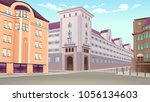 street view with buildings in... | Shutterstock .eps vector #1056134603