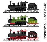 Old Steam Engine Train Vector...
