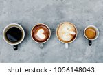 aerial view of various coffee | Shutterstock . vector #1056148043