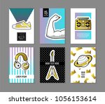 pop art retro style posters set....   Shutterstock .eps vector #1056153614