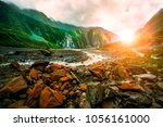 beautiful scenic of fox glacier ... | Shutterstock . vector #1056161000