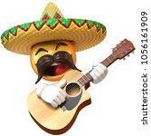 mexican emoji playing guitar... | Shutterstock . vector #1056161909