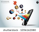 mobile phone 3d and graph icon  ... | Shutterstock .eps vector #1056162080