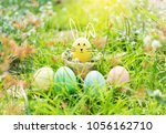 happy easter day funny easter... | Shutterstock . vector #1056162710