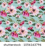 vintage pattern with roses.... | Shutterstock .eps vector #1056163796