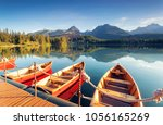 beautiful mountain lake in... | Shutterstock . vector #1056165269