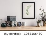 patterned boxes and cactus... | Shutterstock . vector #1056166490