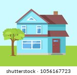 three storey house of blue... | Shutterstock .eps vector #1056167723