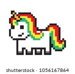 cute pony  pixel horse isolated ... | Shutterstock .eps vector #1056167864