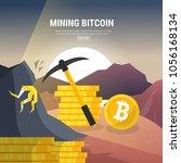 flat design  mining bitcoin... | Shutterstock .eps vector #1056168134