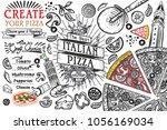 italian food ingredients in top ... | Shutterstock .eps vector #1056169034