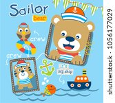 bear the sailorman funny animal ... | Shutterstock .eps vector #1056177029