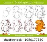 drawing lesson for children.... | Shutterstock .eps vector #1056177530