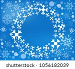 snowflake  wreath isolated.... | Shutterstock . vector #1056182039