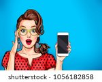 attractive sexy girl in specs... | Shutterstock . vector #1056182858