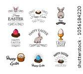 easter bunny  eggs  nest ...   Shutterstock .eps vector #1056184220