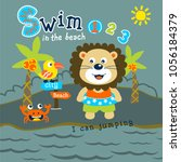 lion swim in the beach funny... | Shutterstock .eps vector #1056184379
