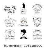 mothers day. flower  swirls ... | Shutterstock .eps vector #1056185000