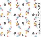 pattern with rocket and... | Shutterstock .eps vector #1056186929